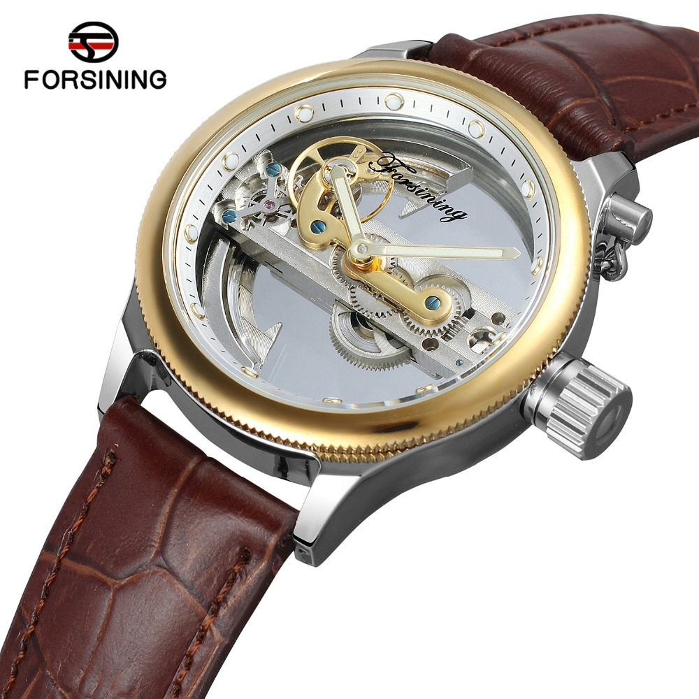 FORSINING Mens New Arrival Luxury Automatic Movement Popular Unique Style Genuine Leather Strap Skeleton Wristwatch FSG9418M3S9FORSINING Mens New Arrival Luxury Automatic Movement Popular Unique Style Genuine Leather Strap Skeleton Wristwatch FSG9418M3S9
