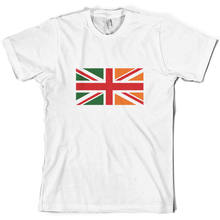 Irish Union Jack Flag - Mens T-Shirt - Ireland - Republic Of Ireland - S-XXL T Shirt Cotton Men Short Sleeve Tee Shirts(China)