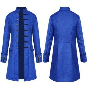 Image 3 - Men Vintage Jacquard Punk Jacket Velvet Trim Steampunk Jacket Long Sleeve Gothic Brocade Jacket Frock Uniform Coat