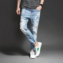 New Jeans Men Ankle-Length Straight Mid Waist Jeans Light Blue Destroyed Ripped Denim Fashion Trousers