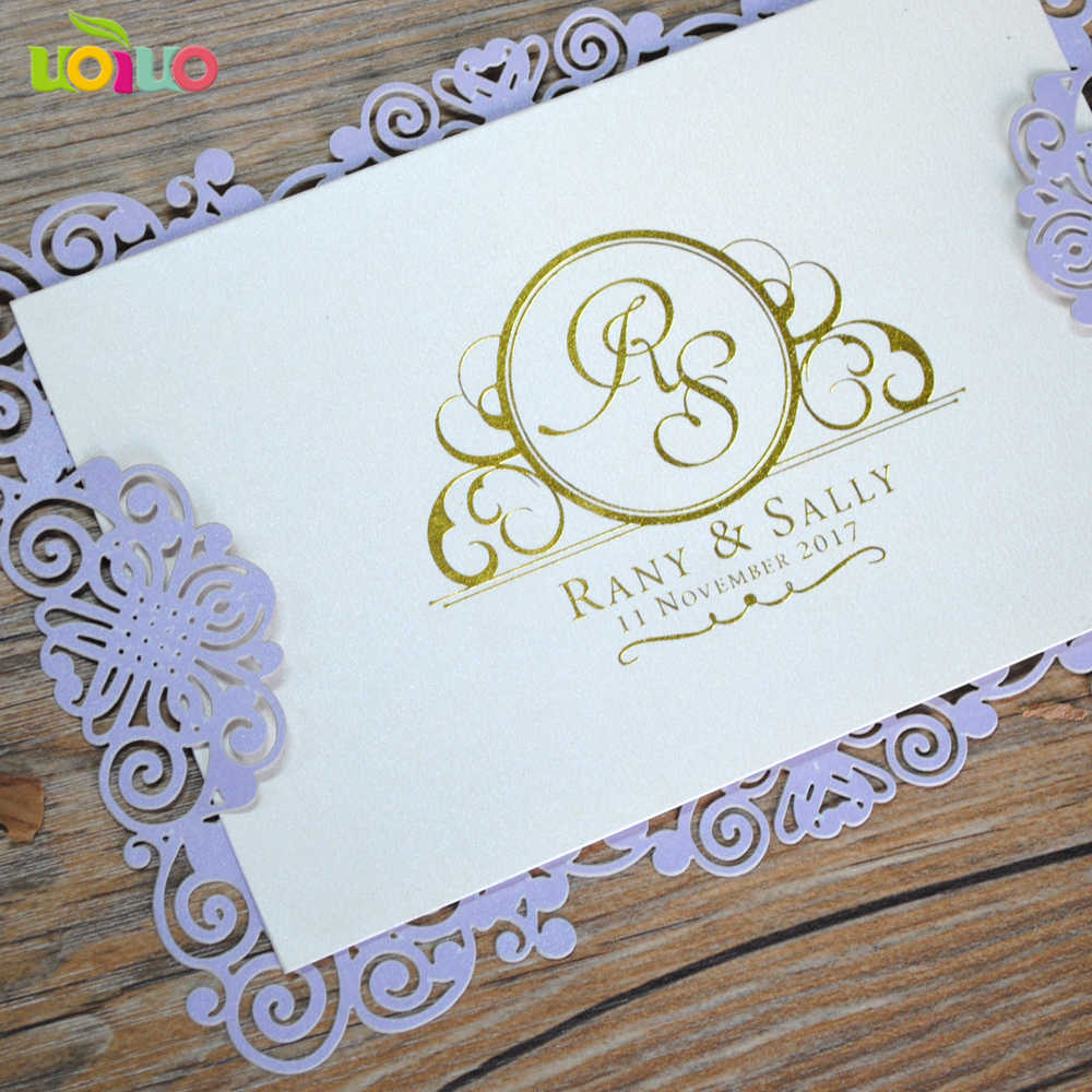 cheap price simple laser cut paper menu card wedding invitation card hot stamping letters oem service