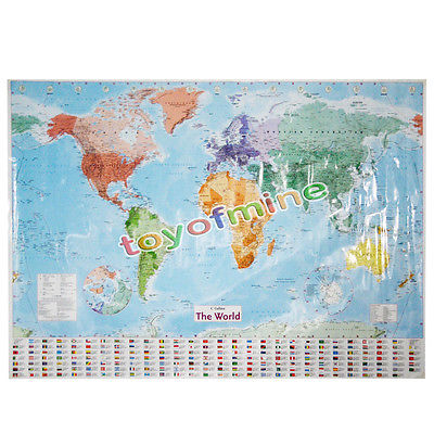 Hot english french world map waterproof big large map of the world hot english french world map waterproof big large map of the world poster with country flags gumiabroncs Images