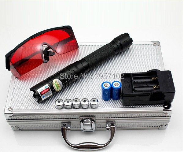 High power Military 450nm 500000m blue laser pointer Laser sight burning match dry wood/cigarettes+ 5 star caps+glasses+gift box blue laser pointer high power laser pen 450nm burn match cigarettes candle with 5 star caps for hunting metal box