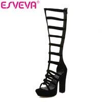 ESVEVA 2019 Women Sandals Long Tube Cool Square Super High Heel Sexy Peep Toe Cut Outs Ladies Pumps Size 34 43