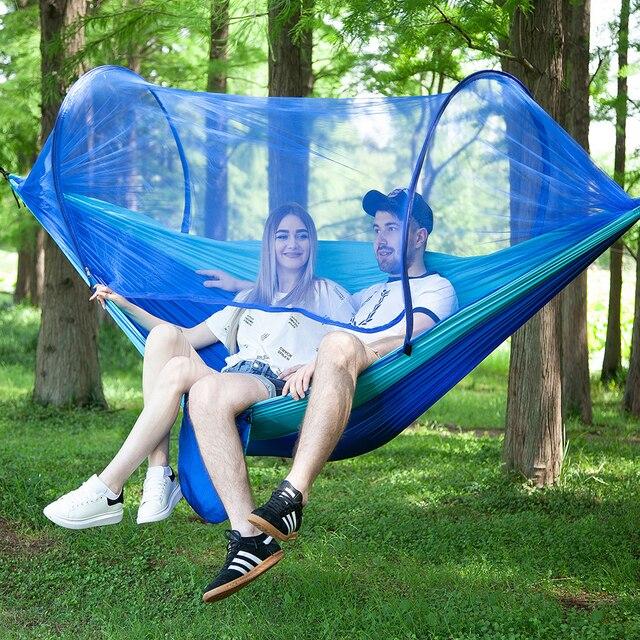 250*120cm configuración rápida hamaca de red portátil cama colgante para dormir para acampar al aire libre viajes senderismo 98*47 tienda Pop Up