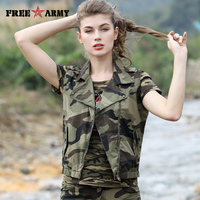 Free Army New Fashion Women Vest Spring/Summer Sleeveless Camouflage Cotton Short Outerwear Waistcoat Pocket Female GS 8702C