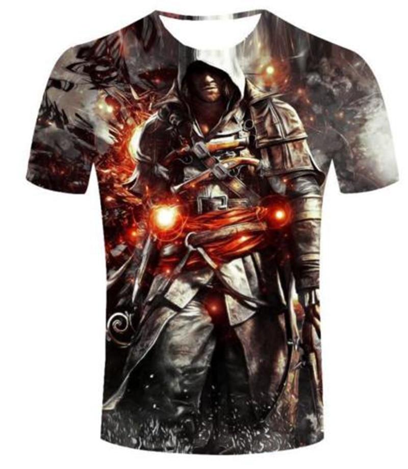 2017 Hip Hop Casual Ženska / Moška majica Assassins Creed Smešno - Moška oblačila