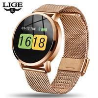 Lige novo relógio inteligente das mulheres dos homens da frequência cardíaca monitor de pressão arterial informação lembrete de fitness rastreador pulseira inteligente pedômetro|Relógios inteligentes| |  -