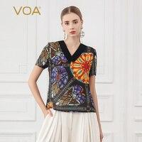 VOA Harajuku 100% Silk T Shirt Print Short Sleeve Tee Women Summer V Neck Tee Casual Ladies Tops shein Pullover streetwear B769