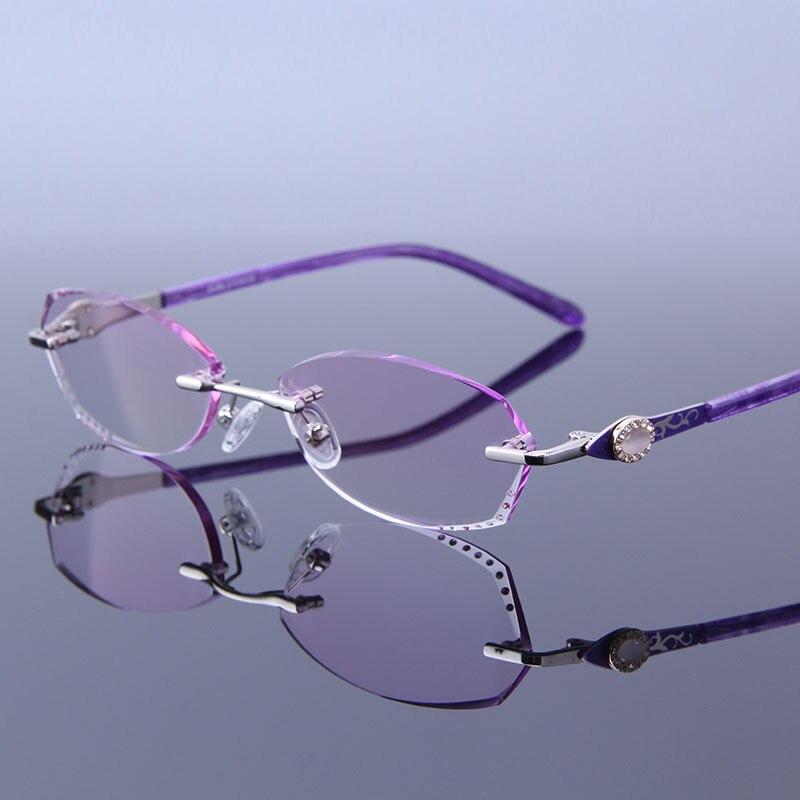 New Ultralight Rimless Reading Glasses Gradient Purple Lens Computer Glasses  For Presbyopia Glasses gafas de mujer c27394105f50