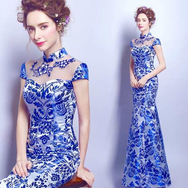 0d3682e2c Detail Feedback Questions about blue and white porcelain dress chinese  oriental with lace wedding cheongsam modern designer traditional dresses  women qipao ...