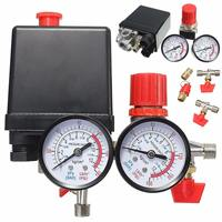 180PSI Air Compressor Pressure Valve Switch Manifold Relief Regulator Gauge