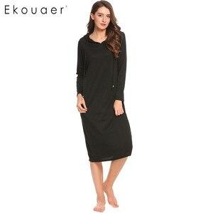 Image 3 - Ekouaer מזדמן כתונת לילה נשים ארוך שרוול הלבשת ברדס ארוך כותונת סתיו Sleepdress Loose מוצק הלבשת בגדי בית