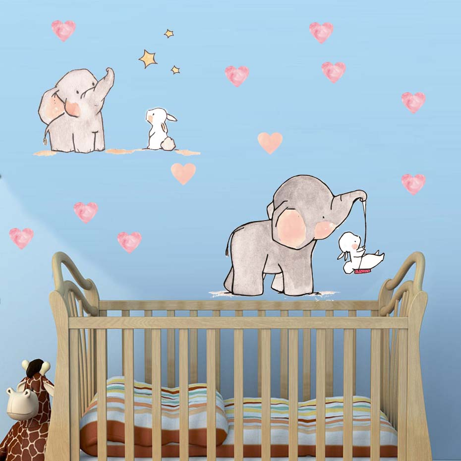 Wall Sticker For Baby Room Cute Animal Elephant Rabbit Vinyl Wall Decals For Kids Nursery Girls Room Wall Decoration