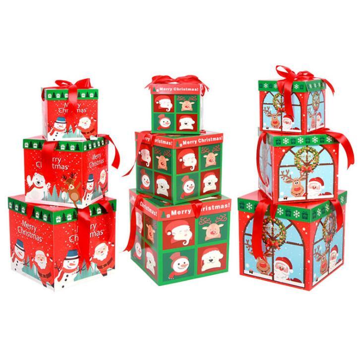 Techome Speciale Kerstcadeau Doos 1 Set/3 St Verpakking Candy Box Gift Set Diy Een Klik Montage Drie Stuk Apple Doos Creatieve