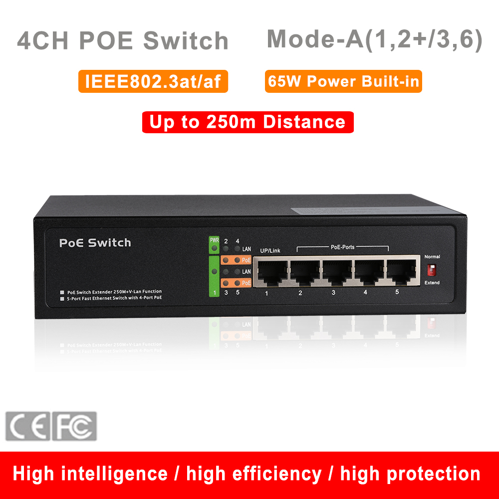 Security Standard 48V 4CH POE Switch IEEE802.3at/af 10/100M 5 ports 250m Distance 65W IP Camera CCTV System NVR POE Power Supply cctv 4 port 10 100m poe net switch hub power over ethernet poe