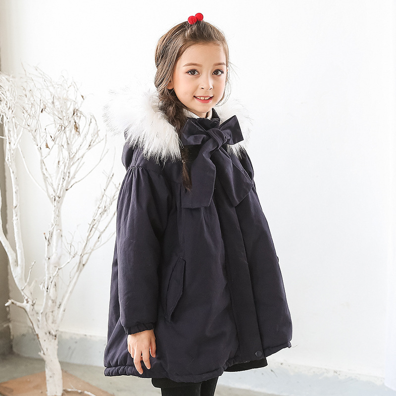 fur hooded loose kids winter coats for girls warm cotton padded clothes children fleece outerwear & coat baby big girl clothing