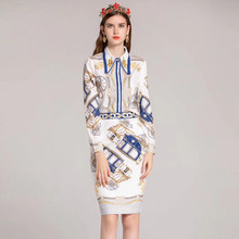 2018 new autumn designer Suit sets Women's Long Sleeve Beaded Fashion Shirt and Skirt Pattern Print Office Lady party set(China)