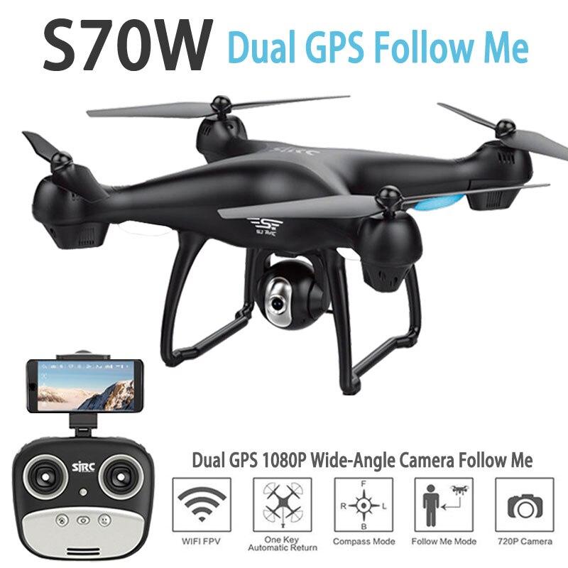 S70W двойной CPS Follow Me Радиоуправляемый Дрон с HD Регулируемый широкий угол Камера WI FI FPV gps автоматический возврат RC quadcopter Вертолет Дрон
