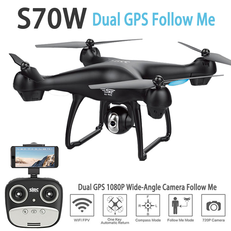 S70W Dual CPS Follow Me RC Drone with HD Adjustable Wide Angle Camera WIFI FPV GPS Auto Return RC Quadcopter Helicopter Dron