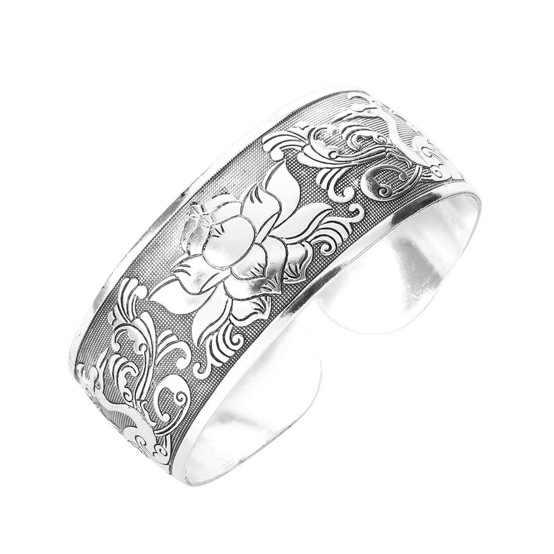Tibet Silver Flower Bangle Bracelet 25mm font b Jewelry b font