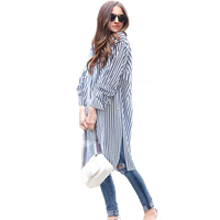 DAIQIANNI Long Striped Shirt Women 2017 Autumn Plus Size Cotton Blouse Women Loose Casual Camisas Feminina