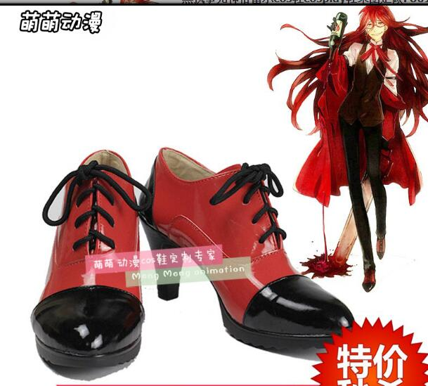 Boots Black Butler Grell Sutcliff Cosplay Shoes Custom Any Size Anime Party Boots