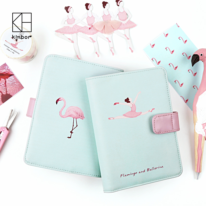 Kinbor Flamingo and Ballerina A6 Notebook Planner DIY Diary Japanese Hobonich Traveler's Journal Office Weekly Plan Notebooks the lovely colorful world and flamingo fashion diy a5 journal pu leather 216p 2017 students office supplies free shipping