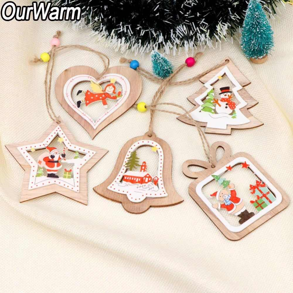 Ourwarm 5pcs Rustic Painted Wooden Christmas Pendant Ornaments Diy Hanging Wood Snowman Deer Xmas Tree Decor Christmas Gifts Pendant Drop Ornaments Aliexpress