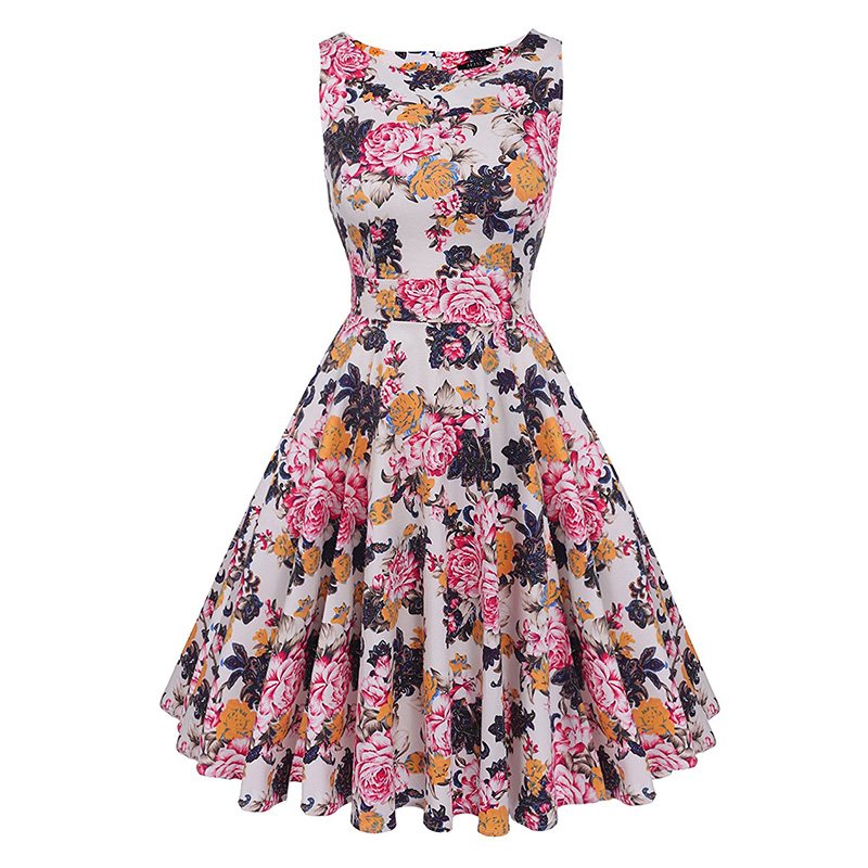 Kostlish Cotton Summer Dress Women 2017 Sleeveless Tunic 50s Vintage Dress Belt Elegant Print Rockabilly Party Dresses Sundress (58)
