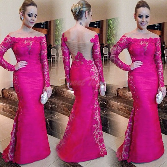 Boat Neckline Fashion Long Sleeve Prom Dresses Fuschia See Through ...