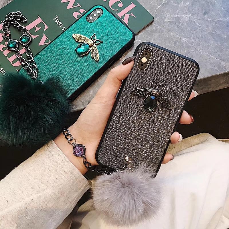 3D Luxury Diamond Bee Gem Bracelet Chain Tassel Fox Fur Ball Back Cover for iPhone 6 6S 8 7 Plus SE2 X XS XR 12 11 Pro Max Case