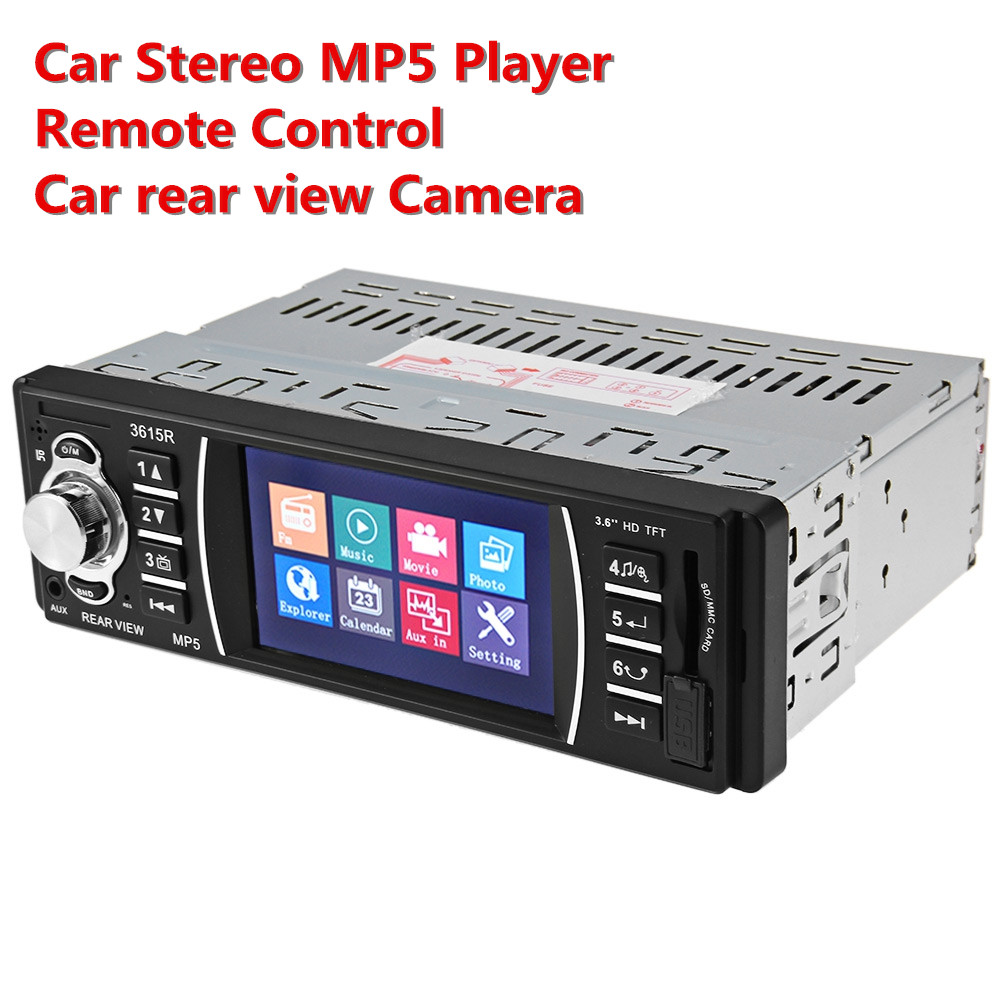 3.6 inch HD Screen 12V Car Radio Auto Stereo MP5 Player USB SD AUX In Player with Remote Control Support Car Rear View Camera