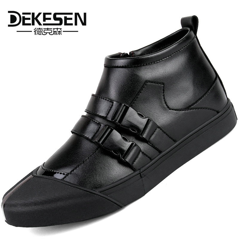 New Italy Designer Genuine Leather Men Ankle Shoes Autumn Winter Warm High-top Stamping Pattern Lace-up Man Black Punk Shoes 2017 new lace beanies hats for women skullies baggy cap autumn winter russia designer skullies