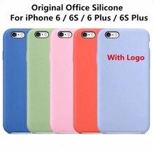 Оригинальный 1:1 копию офисные силиконовый чехол для iPhone 6 6S высокое качество чехол телефона Чехлы для iPhone 6 6S плюс с Логотип Coque принципиально