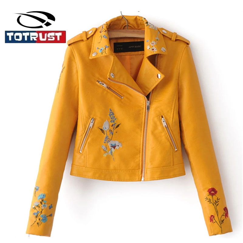 Totrust Chaqueta Veste jaune pu Femmes Broderie Outwear Pu Ciel 2017 En Femelle rose Vestes wine Moto Automne Cuero Mujer Mince Noir Cuir wPk8n0O