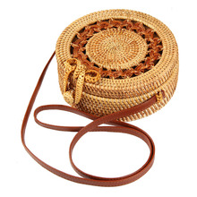 Handmade Round Shoulder Bags Slung Vine Woven Handbag Summer Beach Buckle Grass Messenger Bag Ladies National