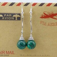 Fashion Bohemian Vintage Ethnic Tibetan Malachite Beads Small Dangle Earrings For Women Party Tibet Jewelry Wholesale