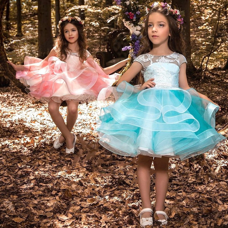 2019 New Tutu Girls Dress Princess Wedding Party Prom Gown Cute Children Evening Clothing Tule Kids Dresses For Girls 8 Years