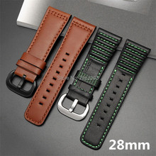 5a4c05cc00f New Genuine Leather Watchband Black Brown Hand Stitching Calfskin Strap  with Pin buckle for SevenFriday 28mm