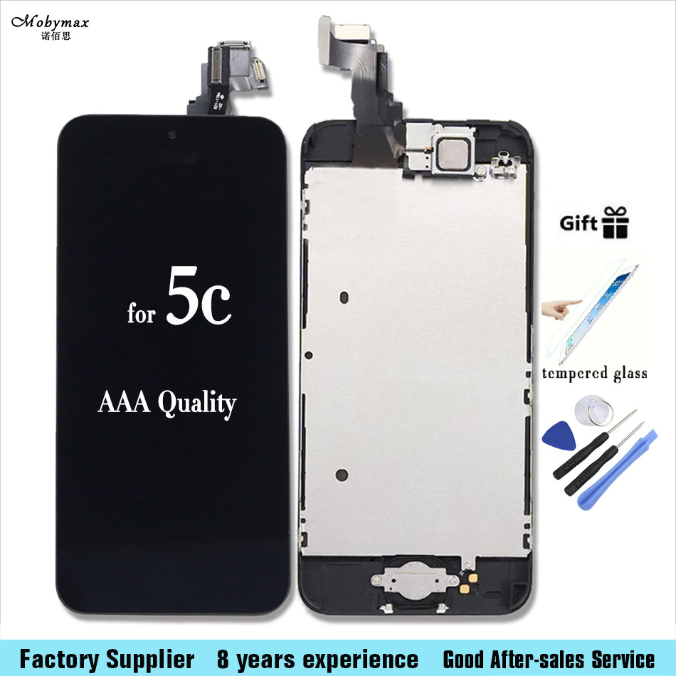 Full LCD Assembly For iPhone 5c Touch Screen Digitizer Display for iphone 5c+Home Button+Front Camera+Tempered Glass +tool set