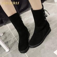 015ec861 SARAIRIS nuevo más tamaño 34-43 nieve zapatos de las mujeres mujer moda ocio  invierno BOTA a media pierna zapatos de la señora b.