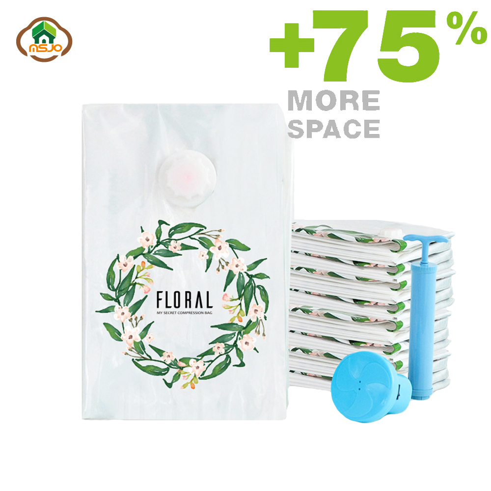 Msjo Vacuum Bag For Storage Vacuum Clothes Bag Floral Printing Extra Large Compressed Organizer Bags Travel Saving Space Seal|Foldable Storage Bags| |  - title=