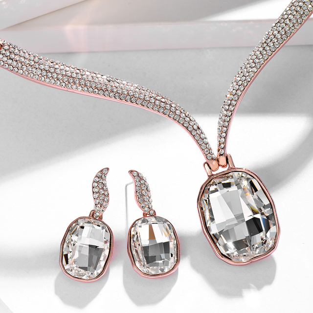 Viennois New Luxury Large Crystals from Swarovski Jewelry Sets for Women Full Rhinestones Paved Choker Necklace Earrings Set