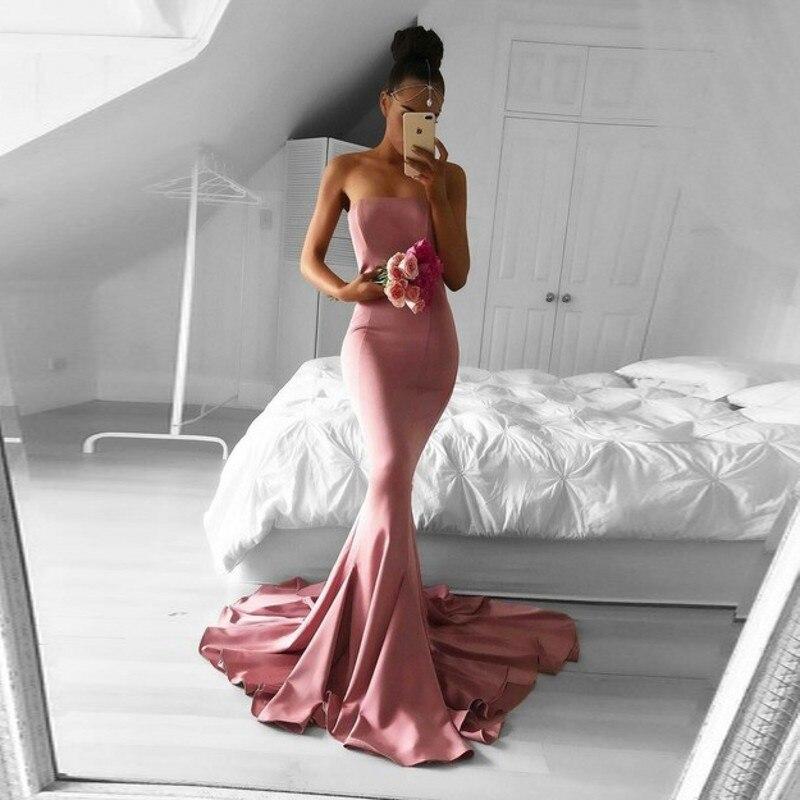 Saudi Arabic Mermaid   Prom     Dresses   Simple Designed Pink Long   Prom   Gowns Satin Abiye gala jurken Strapless Formal   Dresses