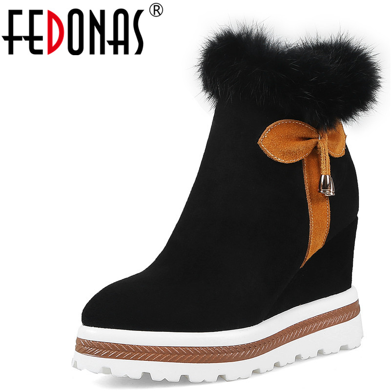 FEDONAS Fashion Women Ankle Boots Round Toe Autumn Winter Warm Wedges High Heels Shoes Woman Rabbit Fur Luxury Quality Boots fedonas retro ruffels women shoes woman wedges high heeled warm autumn winter motorcycle boots fashion new round toe martin shoe