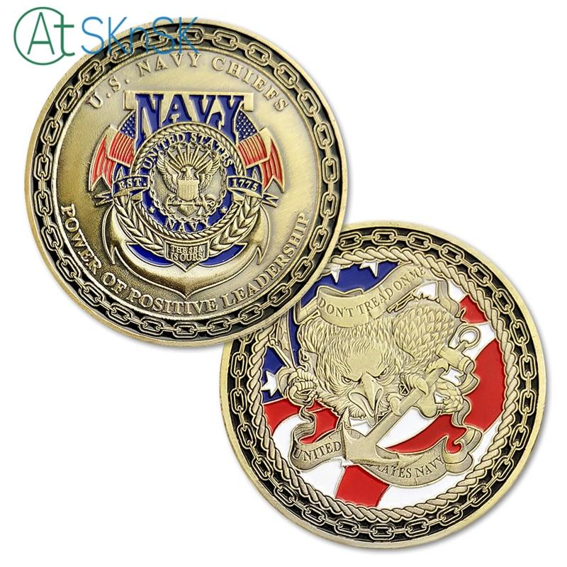 Mince Náčelníci amerického námořnictva Síla pozitivního vedení Americká Eagle Navy Challenge Coin s plastovým pouzdrem pro domácí dekor a dárky