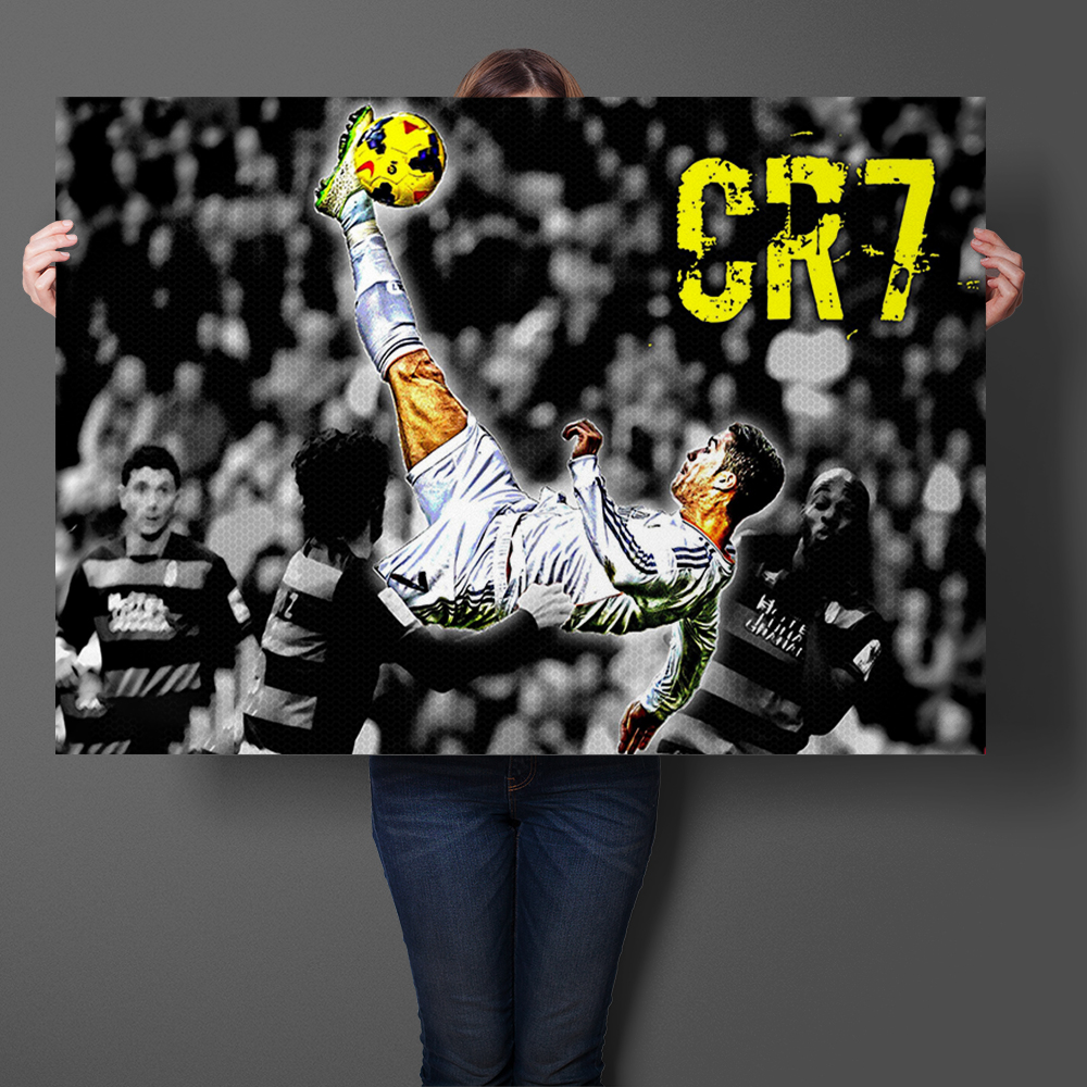 Cristiano Ronaldo Amazing Volley Shot Football Art Prints Silk Fabric Poster And Print Wall Art Picture Painting Home Decor