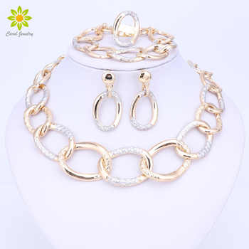 Fashion Dubai Jewelry 2017 Women Bridal Wedding Jewelry Sets High Quality Gold Color Necklace Earrings Bracelet Ring For Party - DISCOUNT ITEM  54% OFF All Category