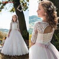 White Flower Girl Dresses for Weddings Tulle Flowergirl First Communion Pageant Dresses for Wedding Party Girls